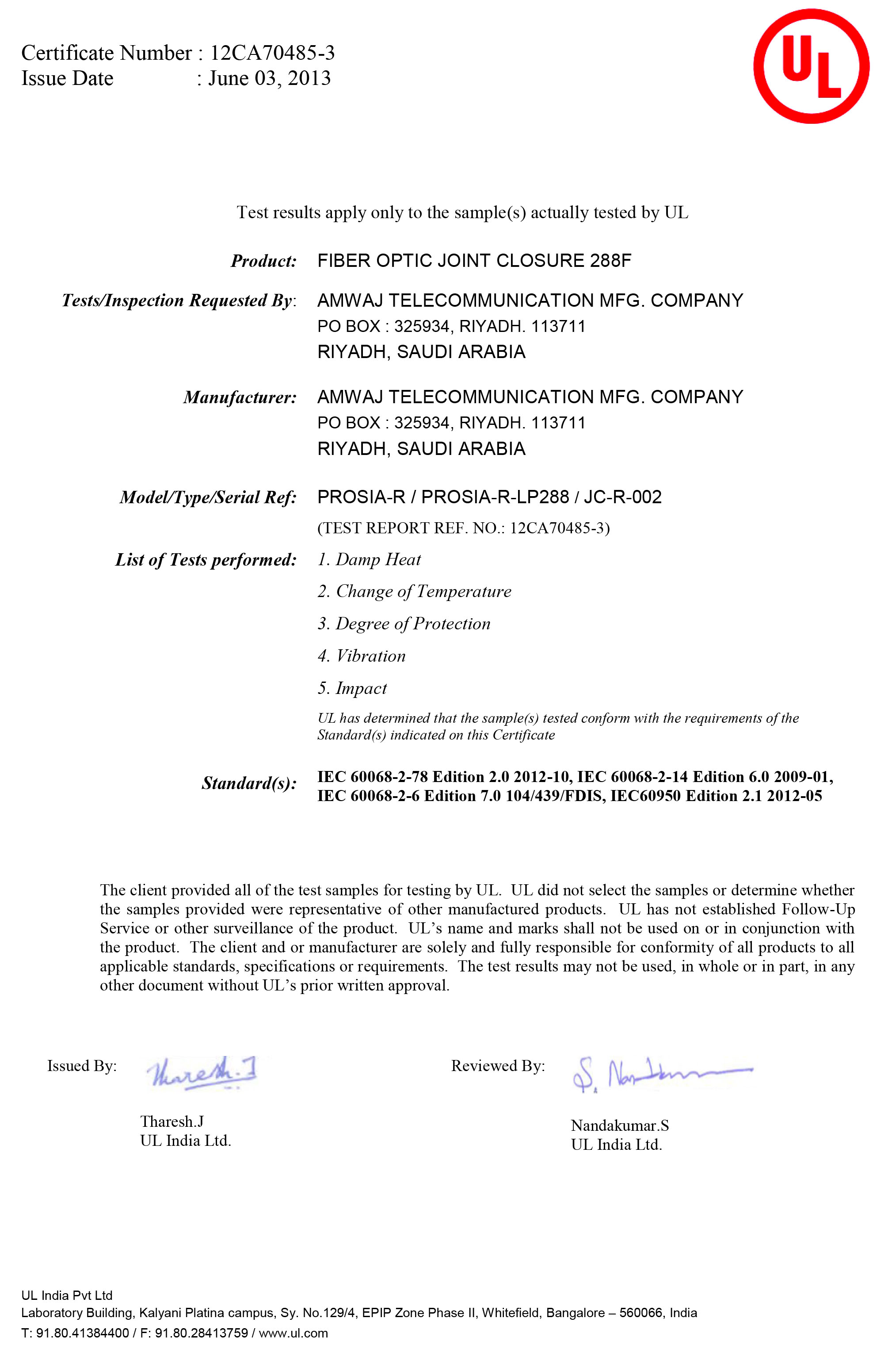 UL Certificate for FOJC 288F