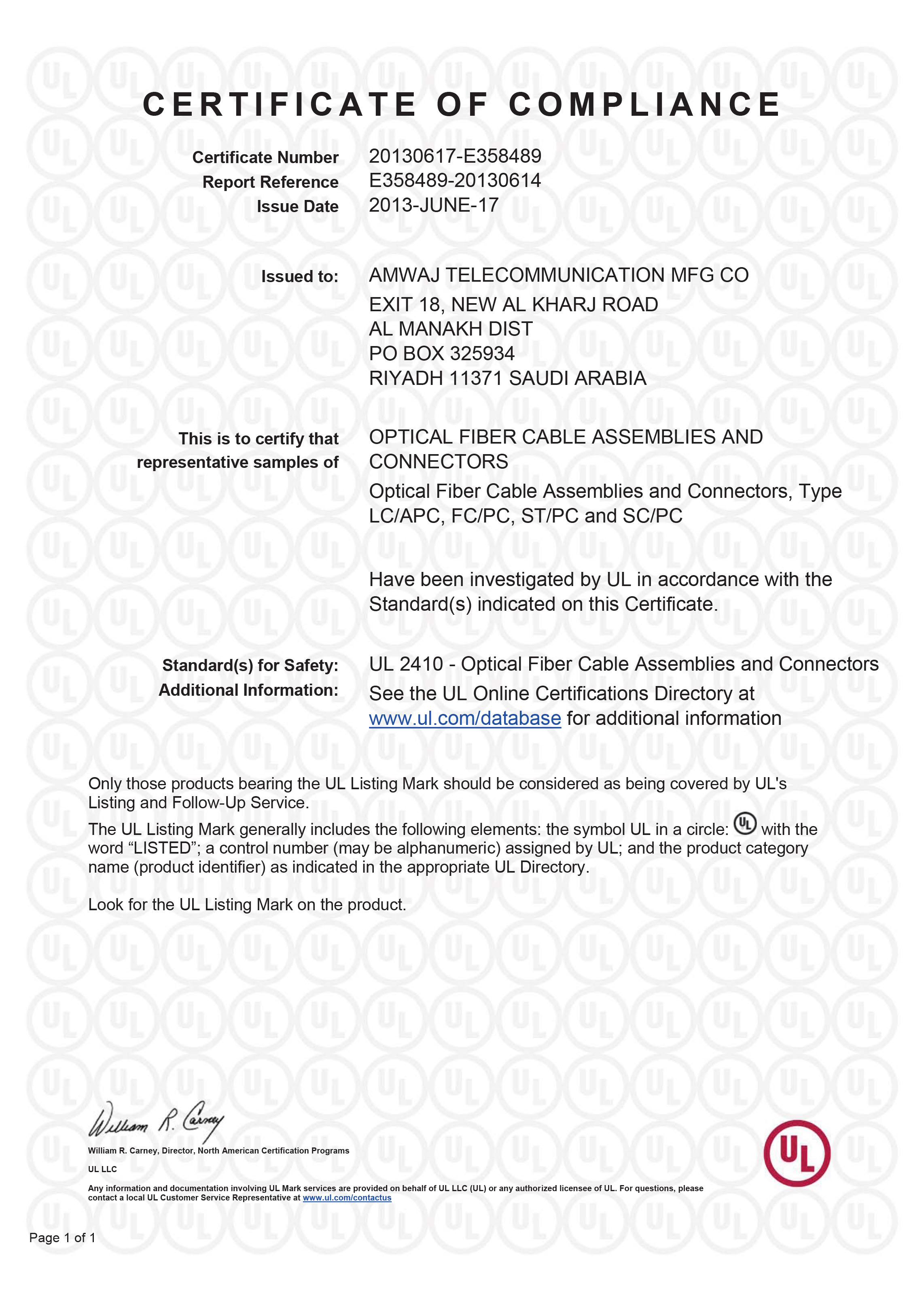UL listing certificate for Fiber cables and assemblies